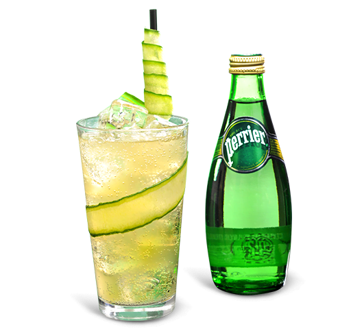 Ginger based drink with perrier bottle