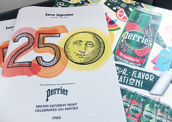 Perrier-inspired art and Love Injection magazine