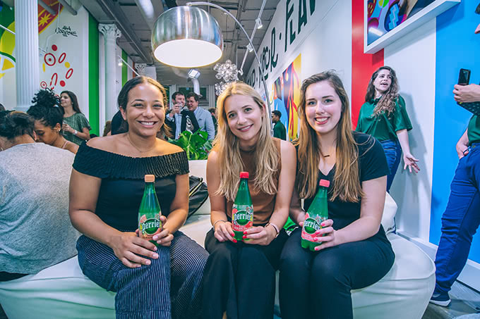 Group of 3 attendees at the Perrier Flavor Studio Popup