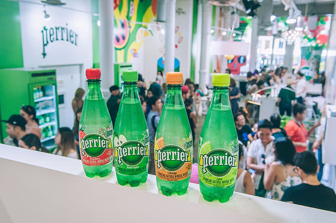 Perrier Flavors on wall