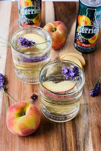 honey lavender peach cocktail with perrier peach sparkling water recipe